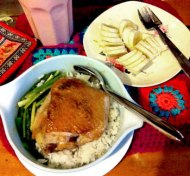 chicken feast with shared banana