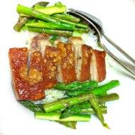 crispy skinned pork & asparagus
