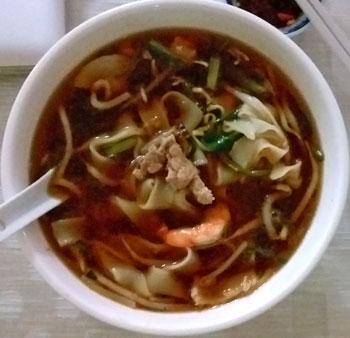 Super yummy broth prawn and pork noodle