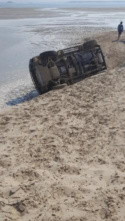 Overturned Hummer