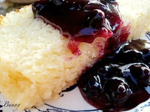 Lemon Pound Cake With Warm Blueberry Sauce