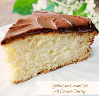 Yellow Sour Cream Cake with Chocolate frosting