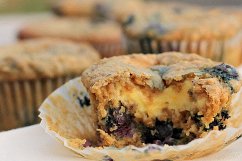 Oatmeal Blueberry Cream Cheese Muffin