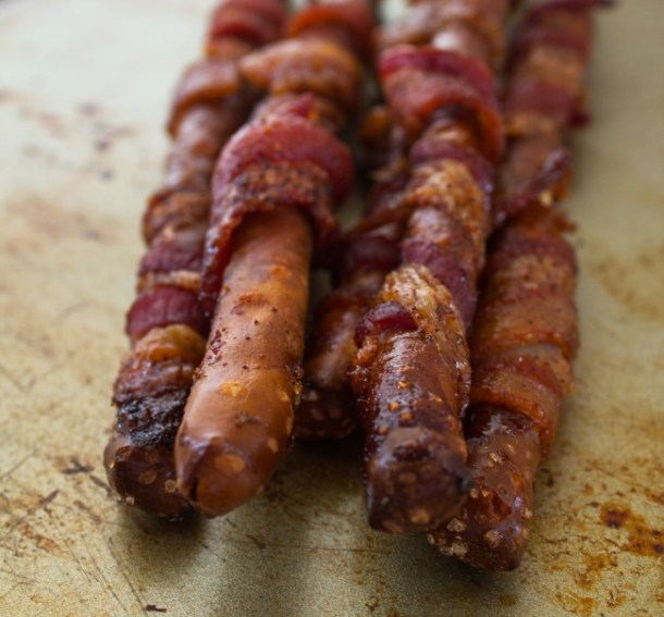 Bacon Wrapped Pretzel Rods
