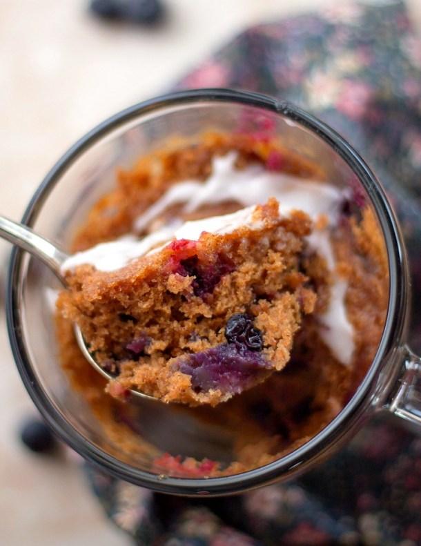 Single Serving Blueberry Mug Cake
