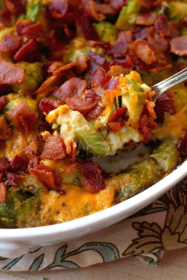 Cheesy Bacon Brussels Sprouts Casserole