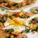 Kale Pesto Bacon Egg Breakfast Pizza