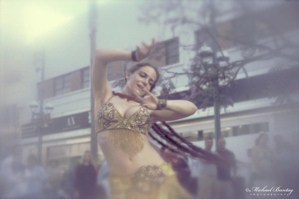 Gypsy Dancer, 3rd Third Street Promenade, Santa Monica, California. Kodak E200 35 mm positive film.