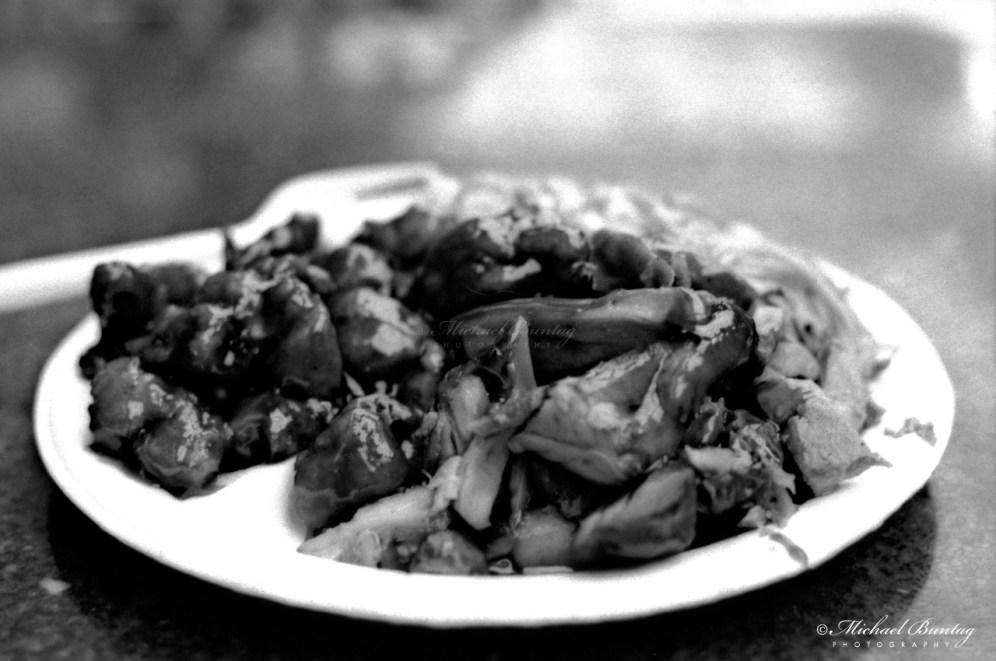 Chinese buffet, 3rd Third Street Promenade, Santa Monica, Los Angeles, California. Fujifilm Neopan 1600 BW negative 35mm film.