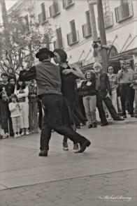 Argentine Tango Dancers, 3rd Third Street Promenade, Santa Monica, Los Angeles, California. Fujifilm Neopan 400 35mm BW film negative.
