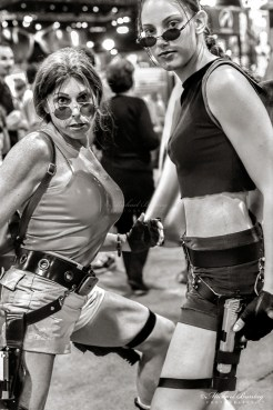 Lara Croft Tomb Raider Cosplayers, Comic-Con International, San Diego Convention Center, Marina District, San Diego, California. Fujifilm NPZ800 color negative 35mm film.