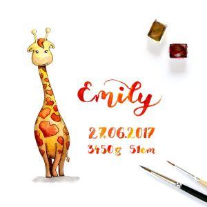 Aquarell Giraffe Geschenk zur Geburt
