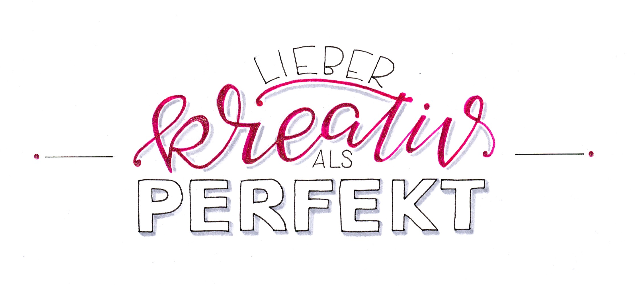 Lieber kreativ als perfekt - Hand Lettering | Bunte Galerie