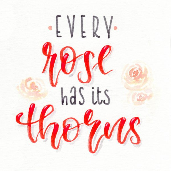 every rose has its thorns - hand lettering | Bunte Galerie