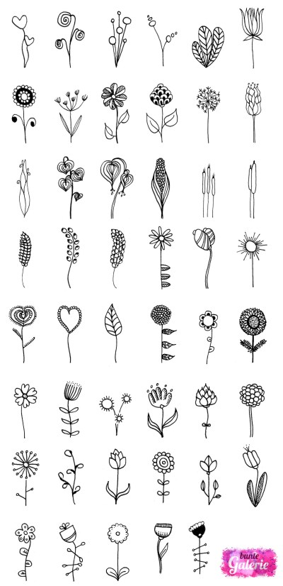 Doodle Blumen zur Inspiration bei Deinen eigenen Zeichnungen