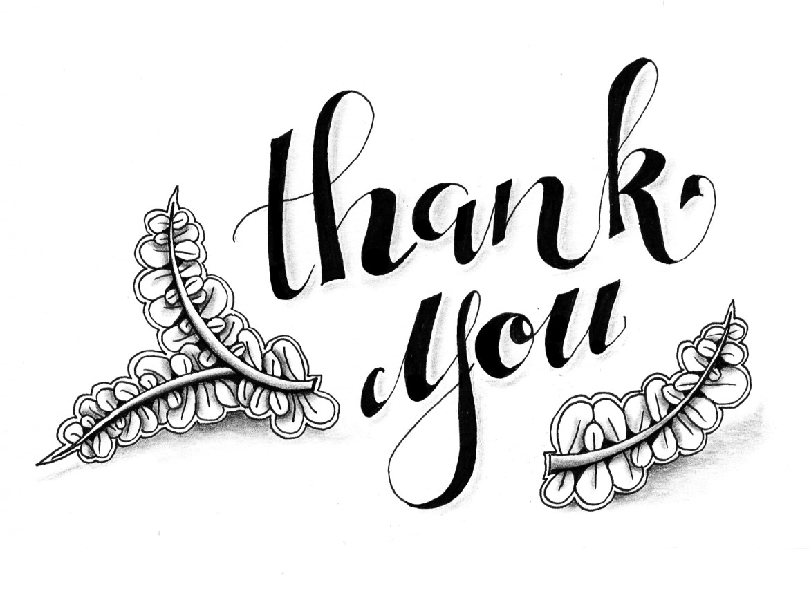 "Dankeskarte ""thank you"" mit Zentangle® Muster Wist"