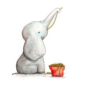 Kleiner Elefant isst Spaghetti