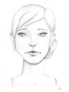 Trauriges Mädchen - Bleistiftzeichnung