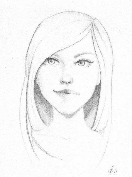 Zeichnung einer jungen Frau mit langen Haaren