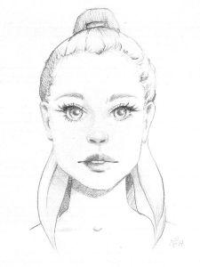 Sketch Mädchen mit Pferdeschwanz