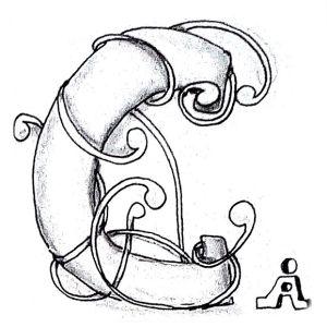 Tangle-Monogramm C - Anya Ipsen (Sutsche Tangeleien)