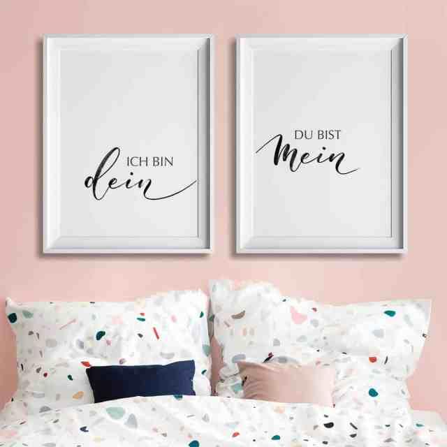 2er Set zusammenhängender Wandbilder im minimalistischen Brushlettering für liebende Paare