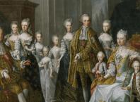 L'Imperatrice Maria Teresa col marito Francesco Stefano di Lorena e i loro sedici figli, ritratti dal pittore di corte Martin van Meytens nel 1756.