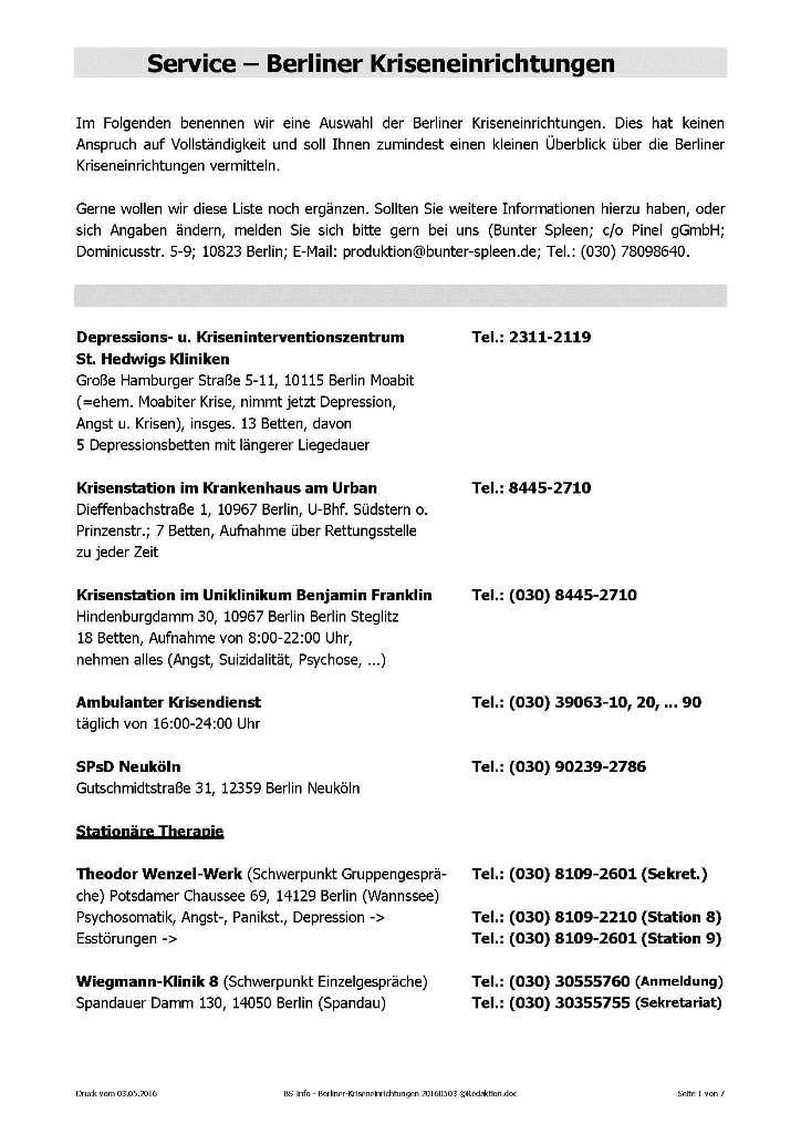 BS Info - Kriseneinrichtungen-Berlin 20160503 ©Redaktion