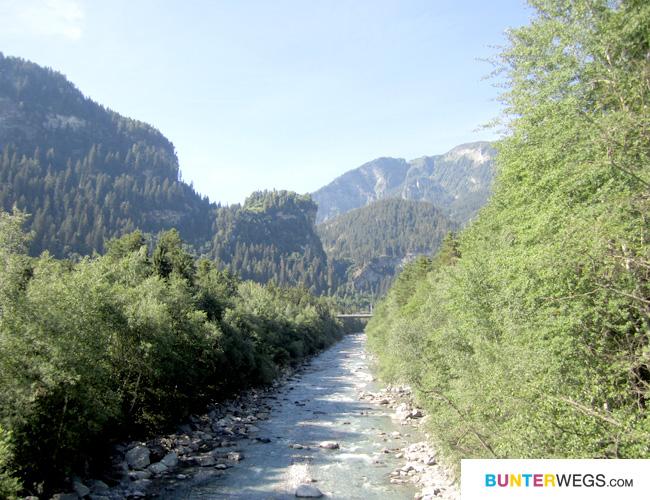 Start der Via Spluga in Thusis in Graubünden, Schweiz