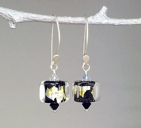 Black-Core-Cube-Lampwork-Glass-Drop-Earrings