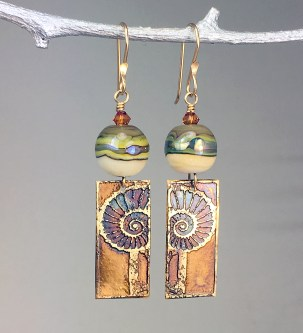 Hand-Etched-Bronze-Nautilus-and-Lampwork-Glass-Bead-Earrings