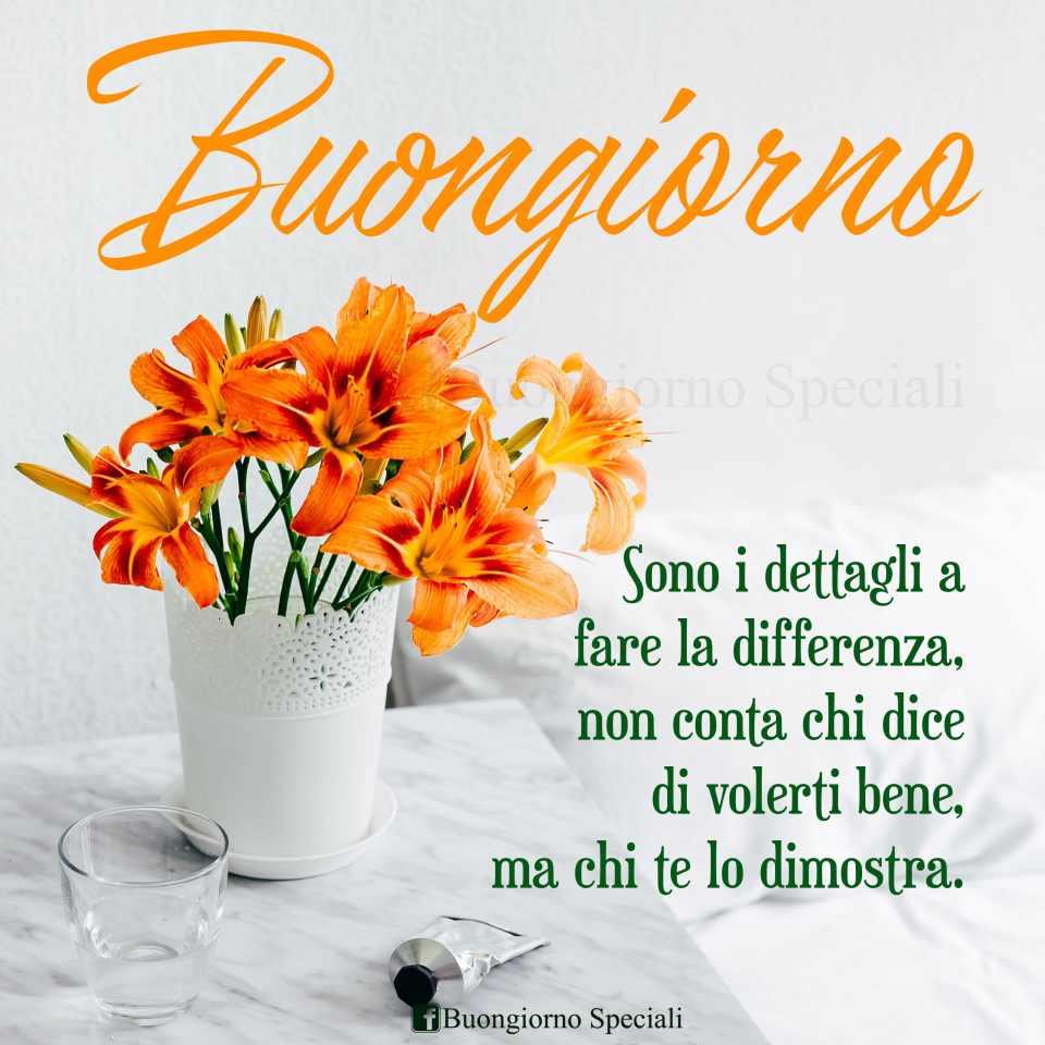 """Vaso con fiori arancioni. Accanto scritta: """"Sono i dettagli a fare la differenza, non conta chi dice di volerti bene, ma chi te lo dimostra. Buongiorno""""."""