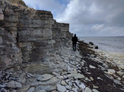 Small limestone cliffs (one Christian for scale)