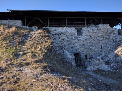 Outside of a centuries old fort in the process of being restored along the eastern shore of Saaremaa