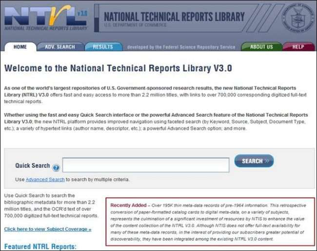 National Technical Reports Library (NTRL)