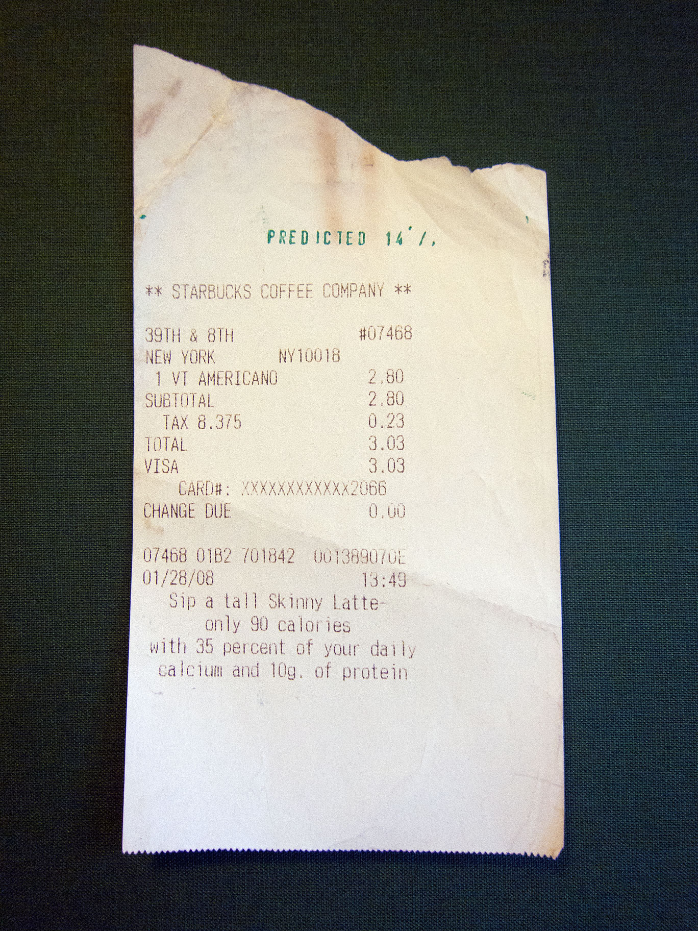 Receipt predicted 14%. Exhibition view, Neuberger Museum of Art, New York, 2009.
