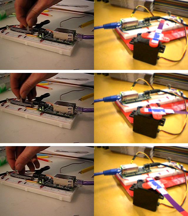 A servo motor in one room is controlled by a slider over the internet  in another building (Graham-Bell moment) using the Pinkie board and Open I/O service.