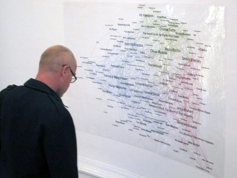 "Exhibition view, ""Collaboration Network""  of Truth is Concrete Marathon, Graz, 2012"