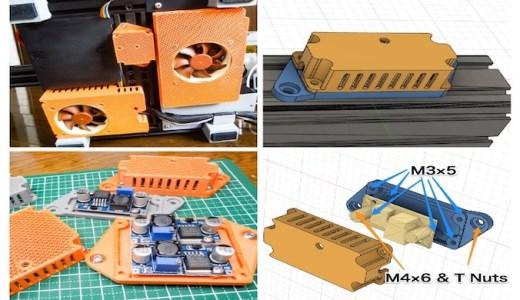 【3Dプリンタ】4040フレームに取り付けできるDC/DC降圧モジュール(LM2596)用ケースを作ってみました!【STLデータ公開】