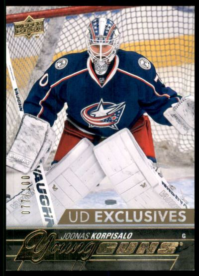 2015-16 Upper Deck Exclusives #521 Joonas Korpisalo RC /100