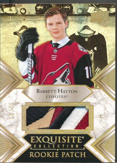 2019-20 Exquisite Collection Rookie Patches Gold #BH Barrett Hayton RC Jsy /25