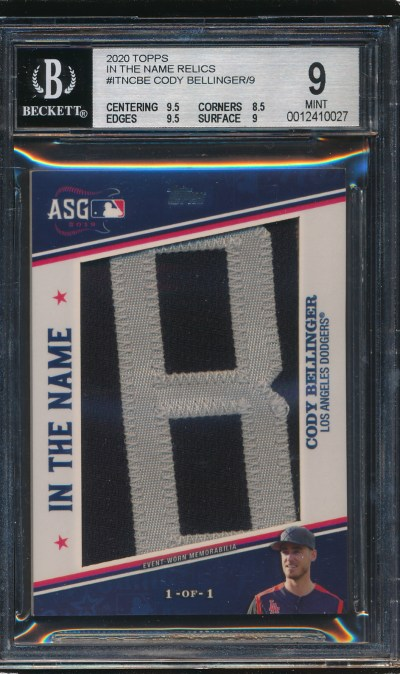 2020 Topps In The Name Relics Cody Bellinger 1/1 BGS 9