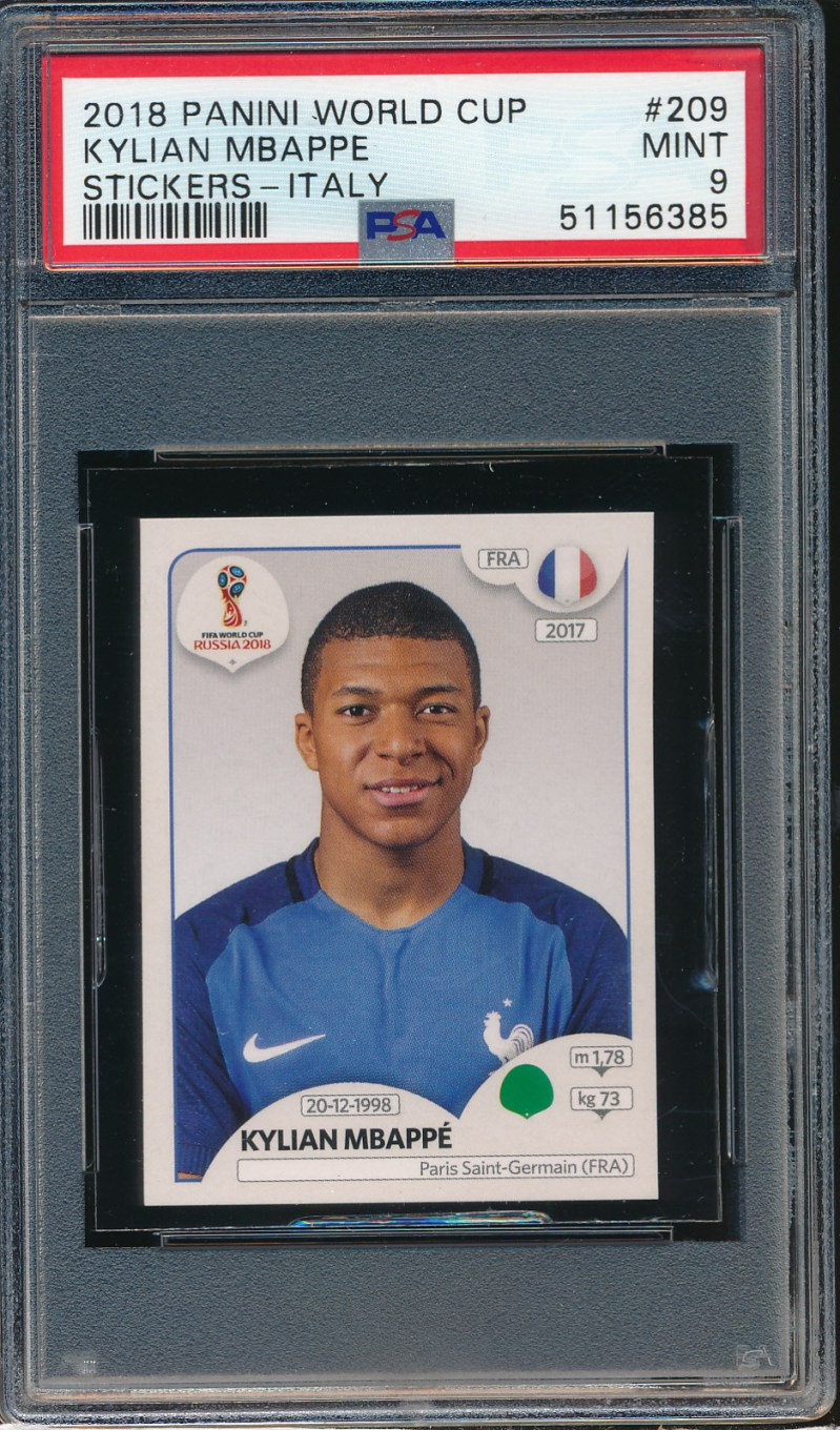2018 Panini World Cup Stickers Italy #209 Kylian Mbappe PSA 9