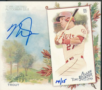 2019 Topps Allen & Ginter N43 Box Topps Autograph #MT Mike Trout Auto /15 *Oversized