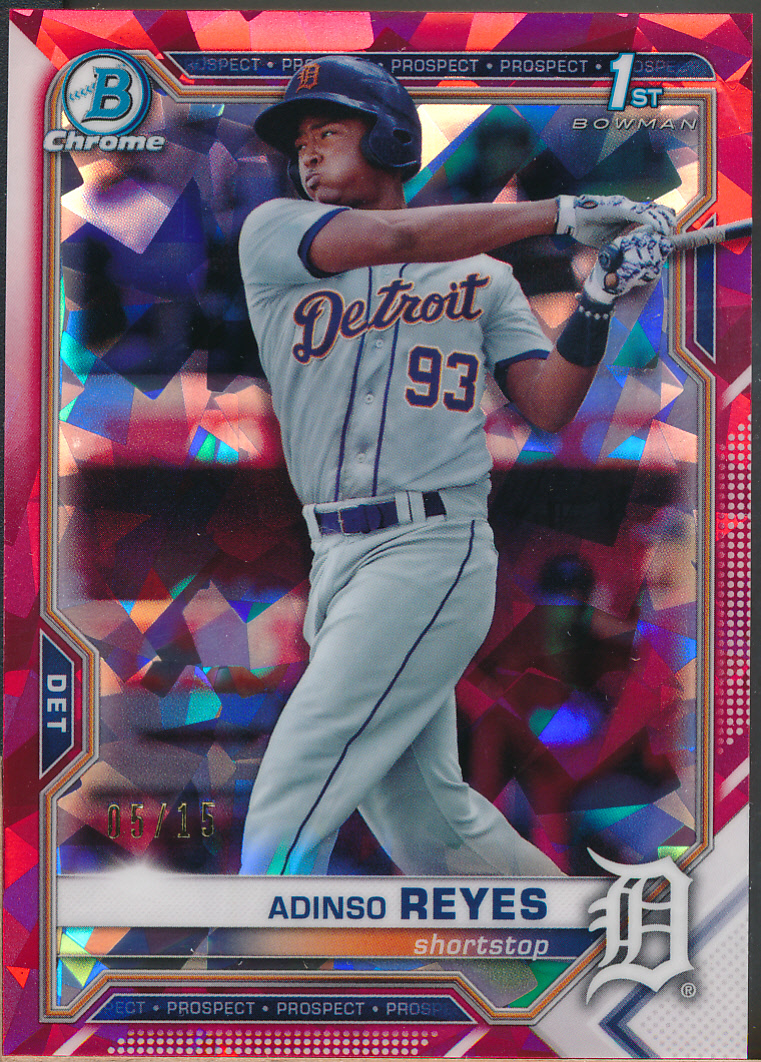 2021 Bowman Chrome Sapphire Prospects Red Refractors #BCP21 Adinso Reyes /15