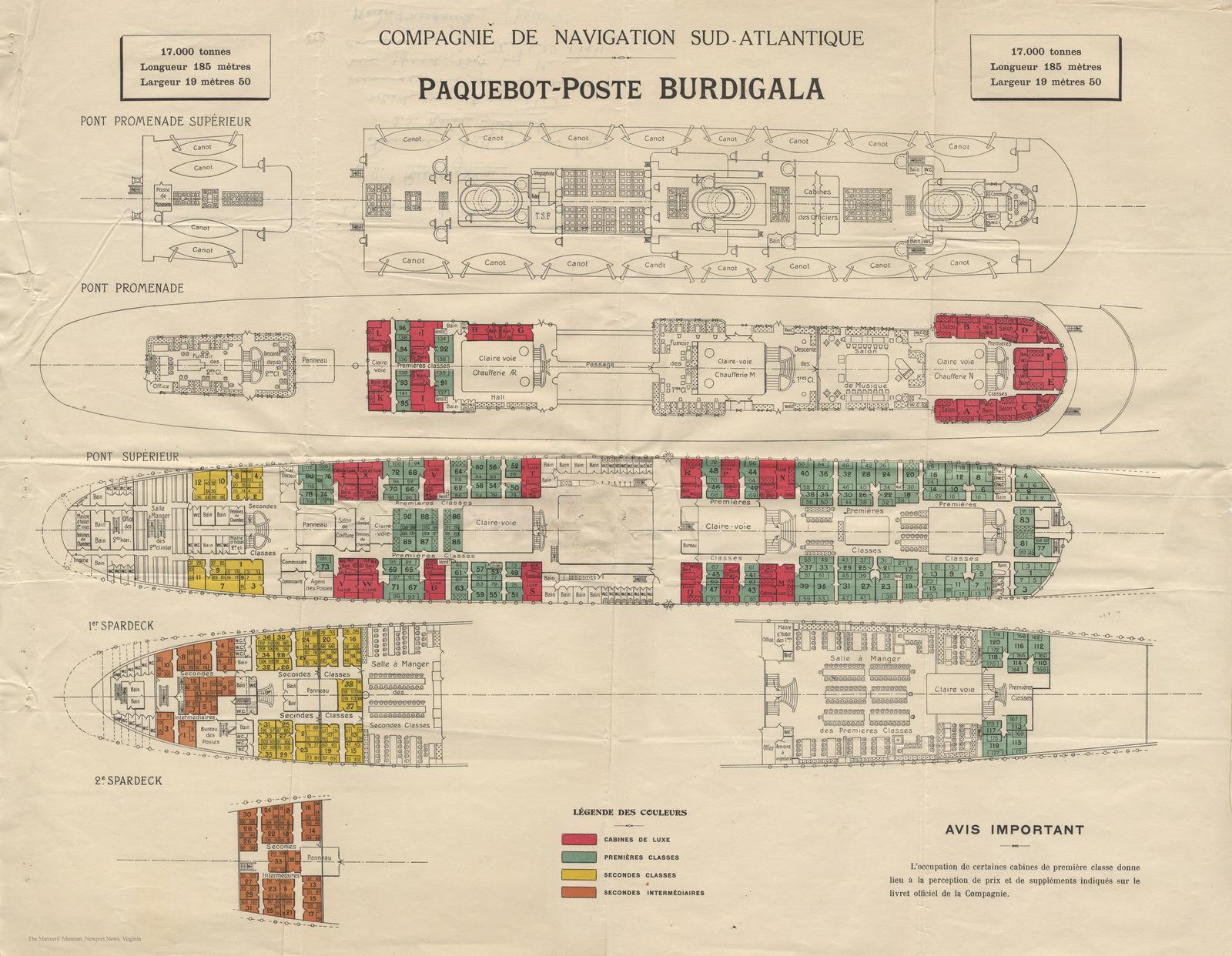S/S Burdigala - Accomodation Plans