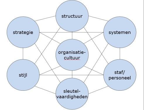 Voorbeeld van een model dat wordt gebruikt voor het opstellen van een (semi)gestructureerde vragenlijst. Het is ontwikkeld door adviesbureau McKinsey voor het het analyseren van de interne organisatie bij strategisch en verandermanagement.