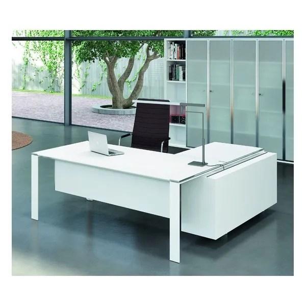 Bureau X7 Avec Plateaux En Verre Blanc Officity Bureaux