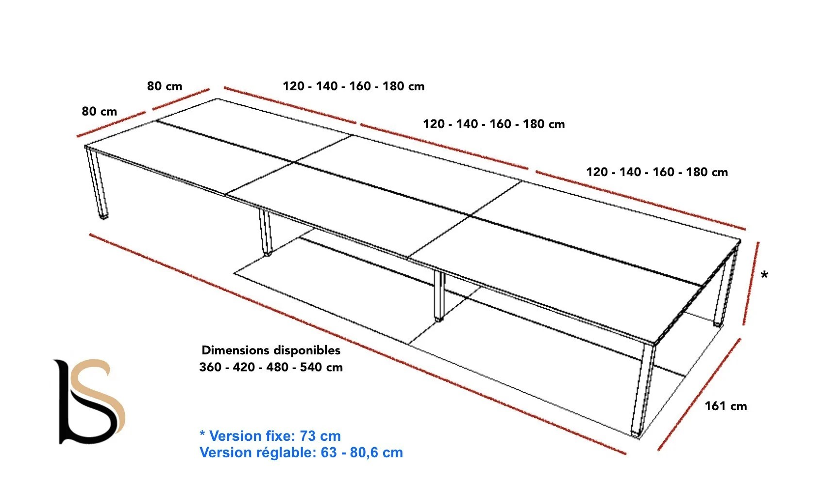 Bureau 6 Personnes Tempo Mobel Linea Bureaux Bench Mobel