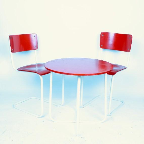 Vintage tafelset met stoelen